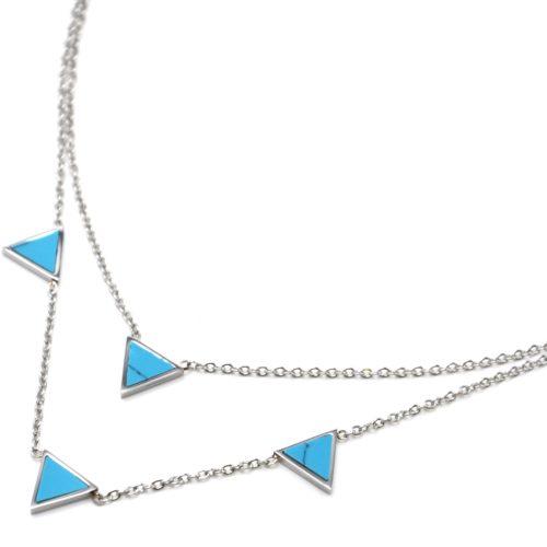 Collier-Double-Chaine-Acier-Argente-avec-Charms-Triangles-Effet-Marbre-Turquoise