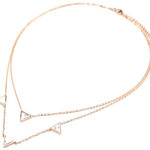 Collier-Double-Chaine-Acier-Or-Rose-avec-Charms-Triangles-Effet-Marbre-Blanc