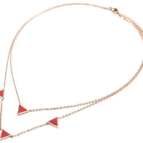 Collier-Double-Chaine-Acier-Or-Rose-avec-Charms-Triangles-Effet-Marbre-Rouge