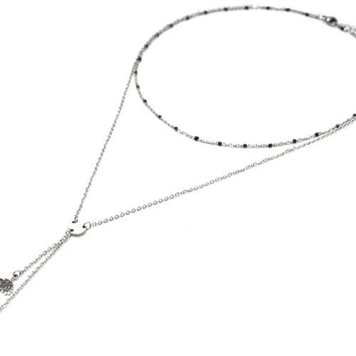 Collier-Double-Chaine-Mini-Perles-Email-Noir-et-Arbres-de-Vie-Acier-Argente