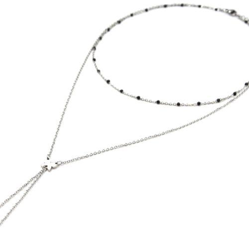 Collier-Double-Chaine-Mini-Perles-Email-Noir-et-Papillons-Acier-Argente