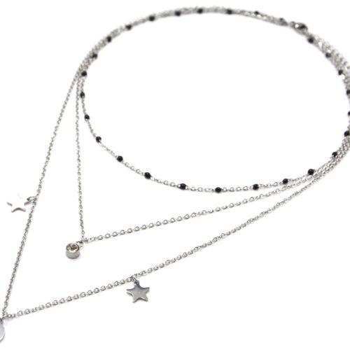 Collier-Triple-Chaine-Mini-Perles-Email-Noir-avec-Etoiles-et-Lune-Acier-Argente