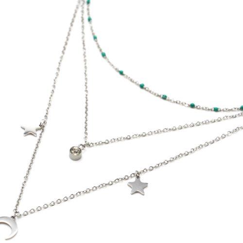 Collier-Triple-Chaine-Mini-Perles-Email-Vert-avec-Etoiles-et-Lune-Acier-Argente