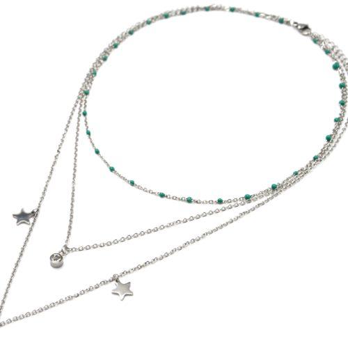 Collier-Triple-Chaine-Mini-Perles-Email-Vert-avec-Etoiles-et-Pierres-Acier-Argente