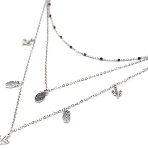 Collier-Triple-Chaine-Mini-Perles-Email-Noir-avec-Cactus-et-Ananas-Acier-Argente
