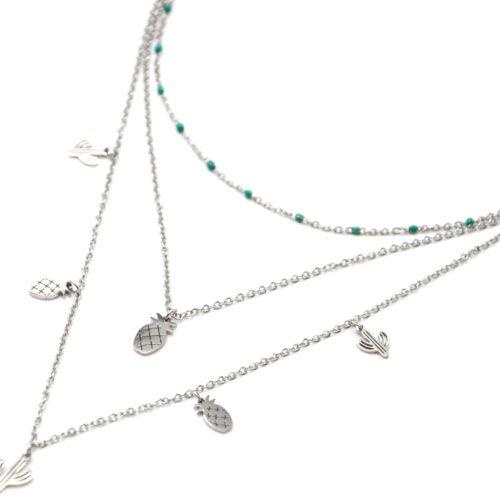 Collier-Triple-Chaine-Mini-Perles-Email-Vert-avec-Cactus-et-Ananas-Acier-Argente