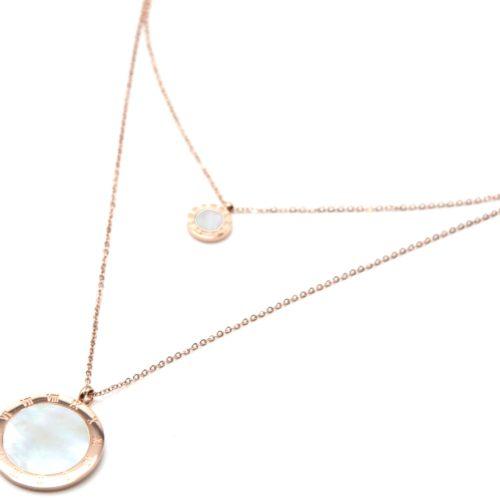 Collier-Double-Chaine-Acier-Or-Rose-avec-Medailles-Chiffres-Romains-et-Nacre