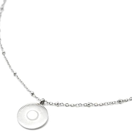 Collier-Chaine-Boules-Pendentif-Medaille-Rayons-Soleil-Acier-Argente-et-Nacre-Blanc
