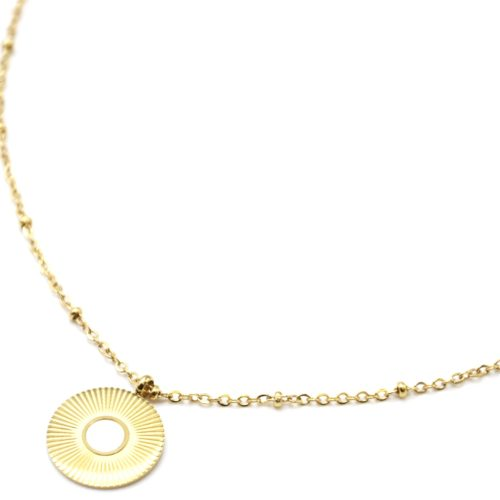 Collier-Chaine-Boules-Pendentif-Medaille-Rayons-Soleil-Acier-Dore-et-Nacre-Blanc