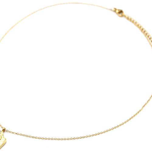 Collier-Fine-Chaine-Pendentif-Medaille-Motif-Scarabee-Acier-Dore