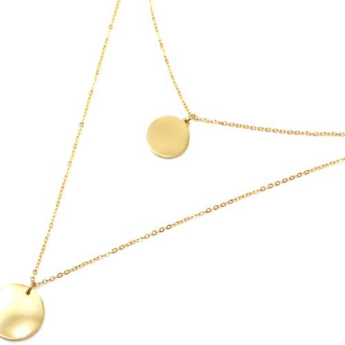 Collier-Double-Chaine-avec-Medailles-Martelees-Acier-Dore