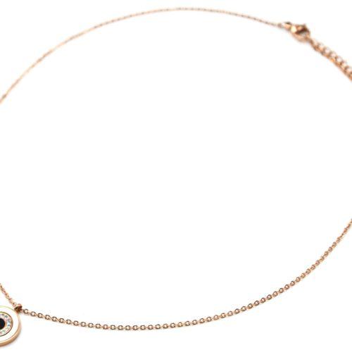 Collier-Fine-Chaine-Acier-Or-Rose-Pendentif-Cercle-Nacre-Strass-et-Email-Noir