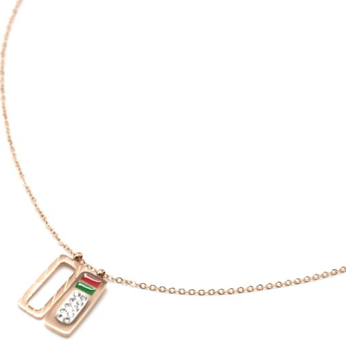 Collier-Fine-Chaine-Pendentif-Rectangles-Acier-Or-Rose-Strass-et-Email-Rouge-Vert