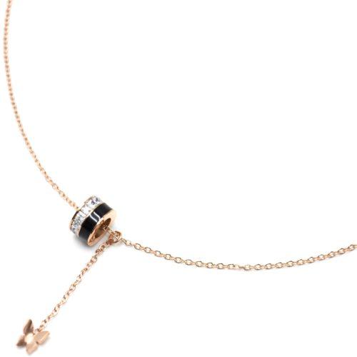 Collier-Fine-Chaine-Acier-Or-Rose-Pendentif-Y-Anneau-Strass-Email-Noir-et-Papillon