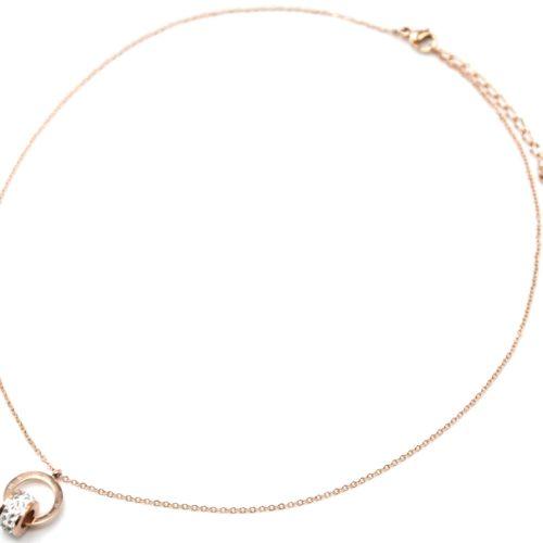 Collier-Fine-Chaine-Pendentif-Cercle-Grave-Acier-Or-Rose-et-Anneau-Strass