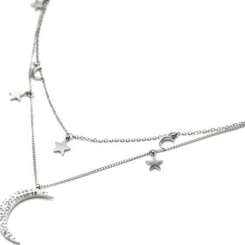 Collier-Double-Chaine-avec-Etoiles-et-Lunes-Acier-Argente-et-Strass