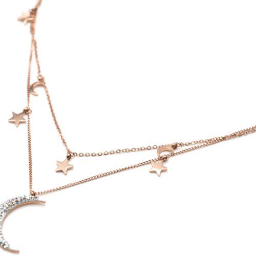 Collier-Double-Chaine-avec-Etoiles-et-Lunes-Acier-Or-Rose-et-Strass
