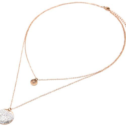 Collier-Double-Chaine-avec-Medaille-Acier-Or-Rose-et-Cercle-Bombe-Strass
