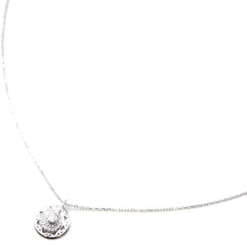 Collier-Fine-Chaine-Argent-925-Pendentif-Medaille-Ajouree-et-Cercle-Strass