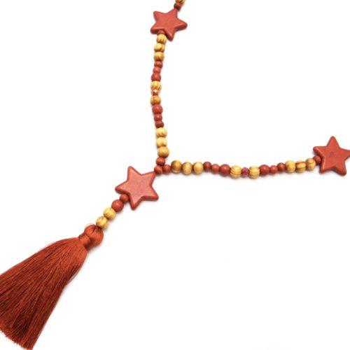 Sautoir-Collier-Perles-Bois-et-Effet-Marbre-avec-Triple-Etoiles-Pierre-et-Pompon-Terracotta