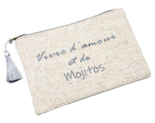 Trousse-Pochette-Toile-Chinee-Message-Vivre-d-amour-et-de-mojitos-Paillettes-Pompon-Argente