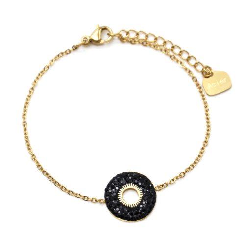 Bracelet-avec-Cercle-Strass-Noir-et-Centre-Soleil-Ajoure-Acier-Dore