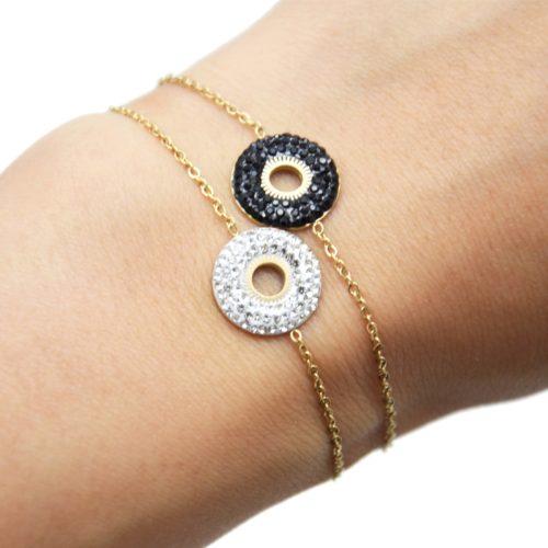 Bracelet-avec-Cercle-Strass-et-Centre-Soleil-Ajoure-Acier-Dore