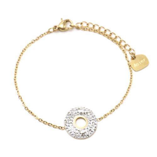 Bracelet-avec-Cercle-Strass-Blanc-et-Centre-Soleil-Ajoure-Acier-Dore