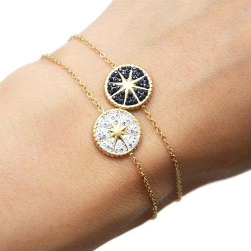 Bracelet-avec-Medaille-Strass-Motif-Etoile-Polaire-Acier-Dore