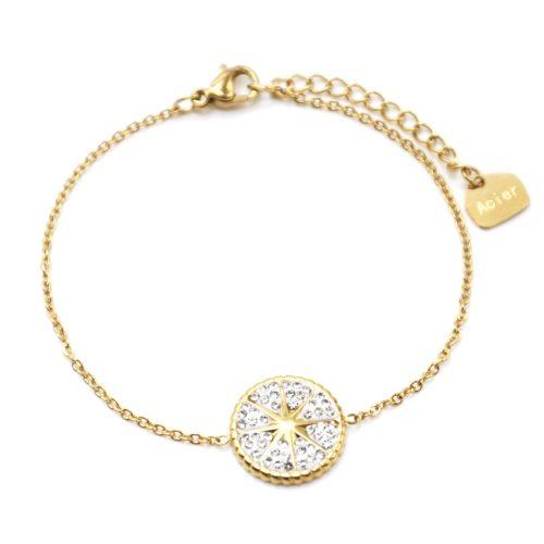 Bracelet-avec-Medaille-Strass-Blanc-Motif-Etoile-Polaire-Acier-Dore