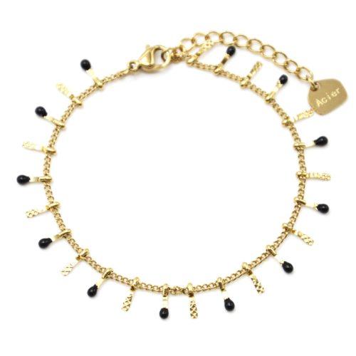 Bracelet-avec-Pampilles-Relief-Carreaux-Acier-Dore-et-Perles-Email-Noir