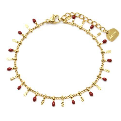 Bracelet-avec-Pampilles-Relief-Carreaux-Acier-Dore-et-Perles-Email-Bordeaux