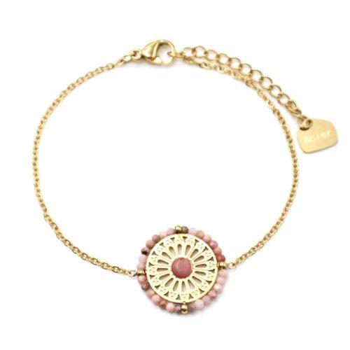 Bracelet-avec-Fleur-Ajouree-Acier-Dore-Pierre-et-Contour-Perles-Roses