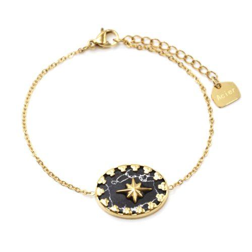 Bracelet-avec-Pierre-Ovale-Noire-Etoile-et-Contour-Acier-Dore