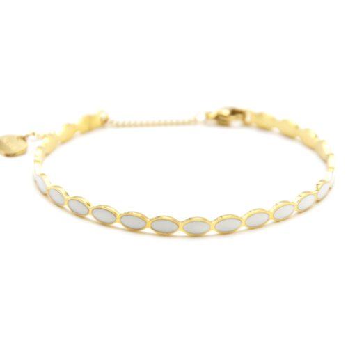 Bracelet-Jonc-Fin-Ondule-et-Chaine-Acier-Dore-avec-Ovales-Email-Blanc