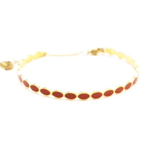 Bracelet-Jonc-Fin-Ondule-et-Chaine-Acier-Dore-avec-Ovales-Email-Terracotta