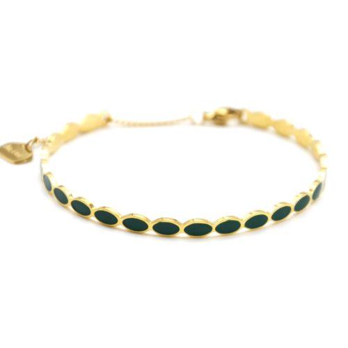 Bracelet-Jonc-Fin-Ondule-et-Chaine-Acier-Dore-avec-Ovales-Email-Vert