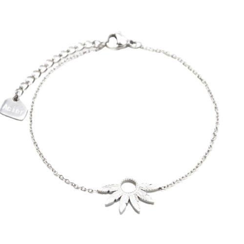 Bracelet-Fine-Chaine-avec-Multi-Plumes-Relief-Acier-Argente