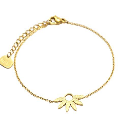 Bracelet-Fine-Chaine-avec-Multi-Plumes-Relief-Acier-Dore
