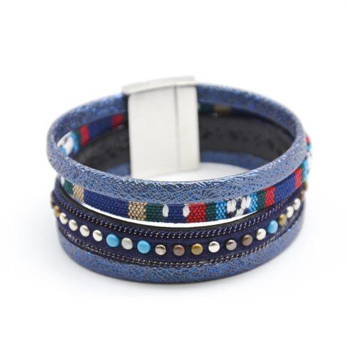 Bracelet-Manchette-Multi-Rangs-Cuir-Paillete-Tissu-Peruvien-et-Clous-Bleu-Marine