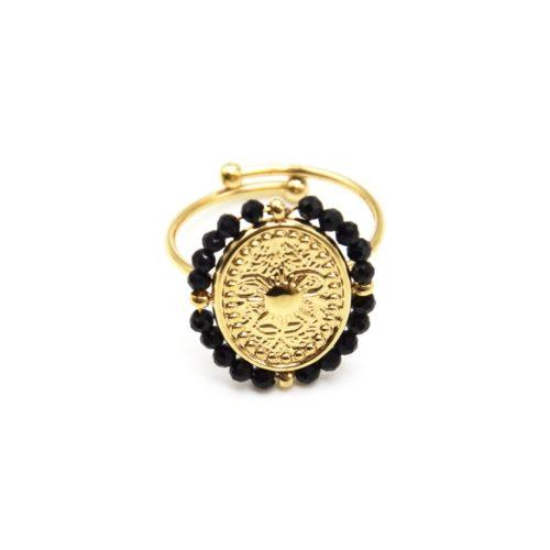 Bague-avec-Medaille-Ovale-Soleil-Acier-Dore-et-Contour-Perles-Noires
