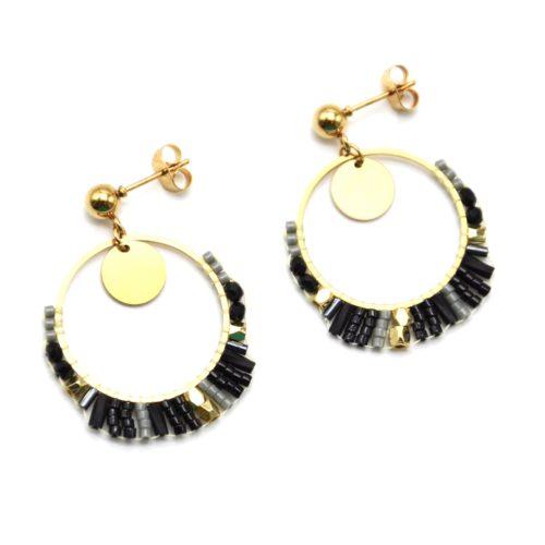 Boucles-dOreilles-Medaille-et-Cercle-Acier-Dore-avec-Perles-Tissees-Noir-Gris