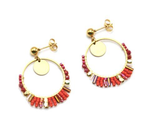 Boucles-dOreilles-Medaille-et-Cercle-Acier-Dore-avec-Perles-Tissees-Orange-Rouge