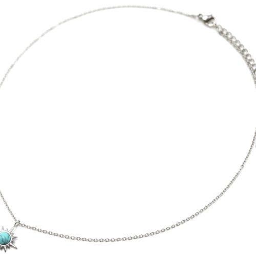 Collier-Pendentif-Etoile-Polaire-Acier-Argente-et-Pierre-Turquoise