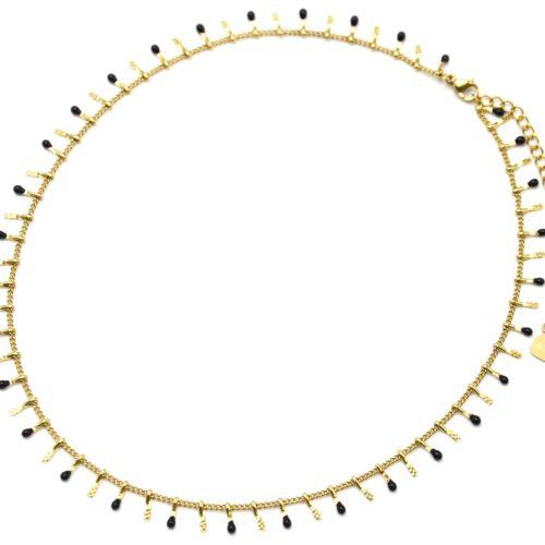 Collier-Ras-du-Cou-avec-Pampilles-Relief-Carreaux-Acier-Dore-et-Perles-Email-Noir