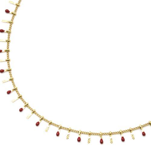 Collier-Ras-du-Cou-avec-Pampilles-Relief-Carreaux-Acier-Dore-et-Perles-Email-Bordeaux
