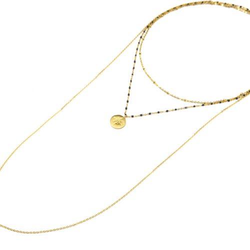 Collier-Triple-Chaine-Mini-Perles-Medaille-Acier-Dore-et-Etoile-Polaire-Bleu-Nuit