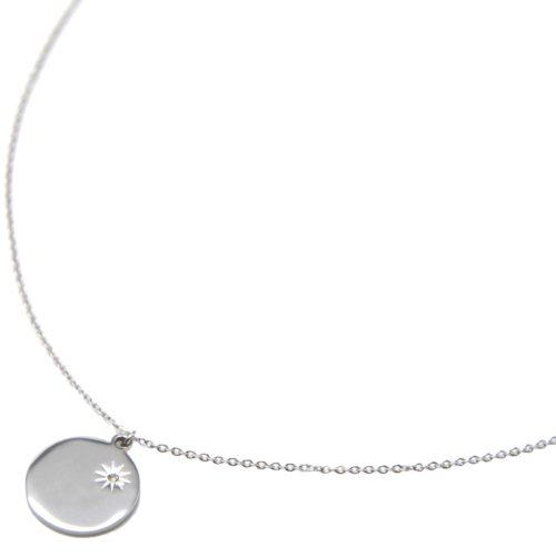 Collier-Pendentif-Medaille-Acier-Argente-avec-Soleil-Grave-et-Strass