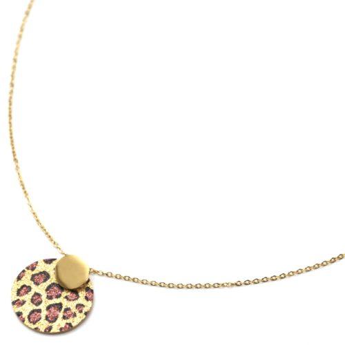 Collier-Pendentif-Medailles-Acier-Dore-et-Motif-Leopard-Paillettes