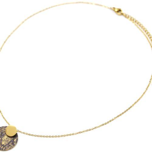 Collier-Pendentif-Medailles-Acier-Dore-et-Motif-Python-Paillettes